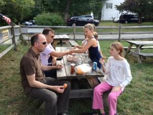 kleine picknick na het plukken